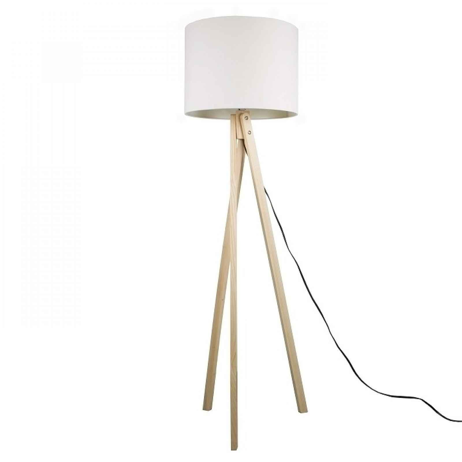 Stojací lampa, bílá / přírodní dřevo, LILA TYP  6 0000190673 Tempo Kondela