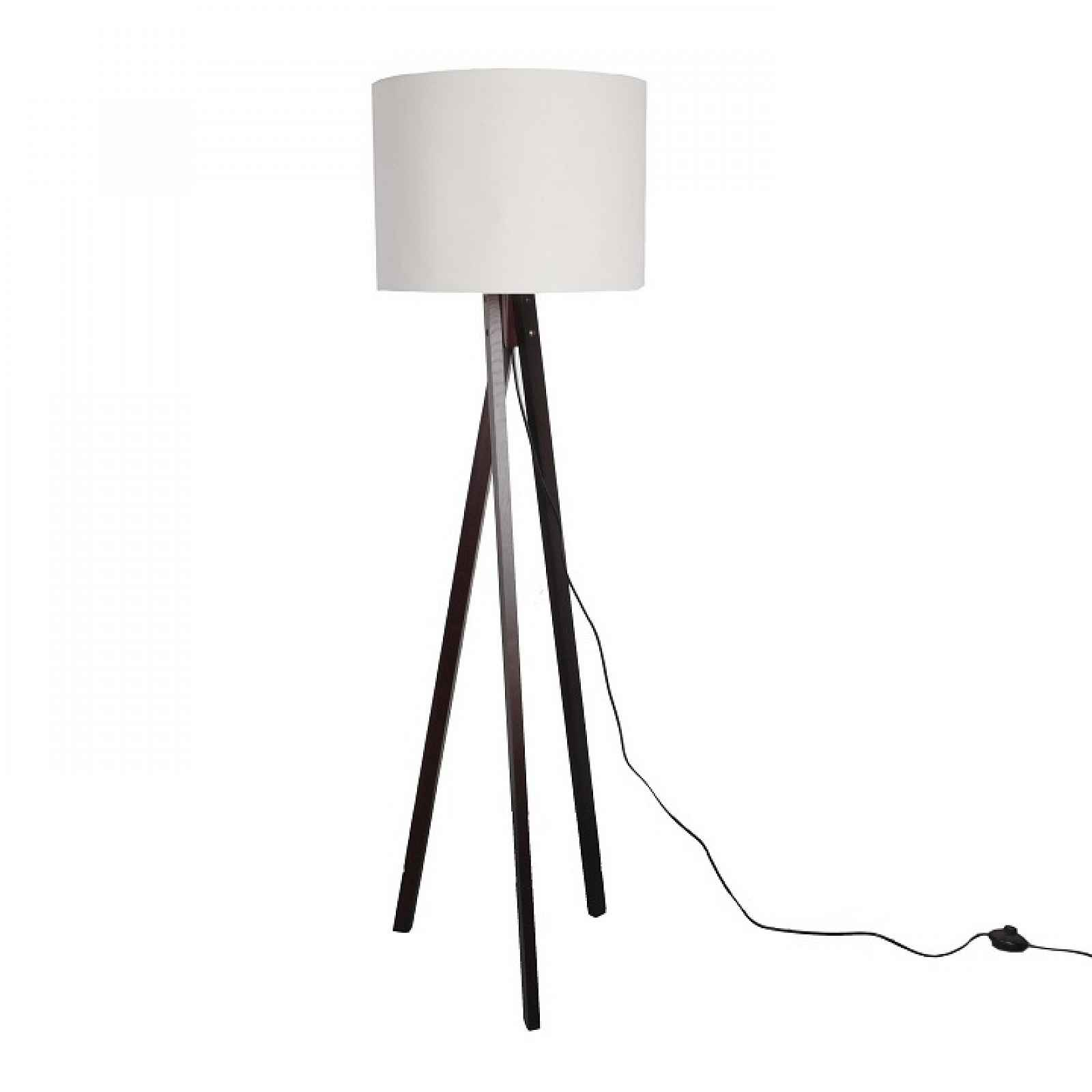 Stojací lampa, bílá / dřevo černé, LILA TYP 9 0000190676 Tempo Kondela