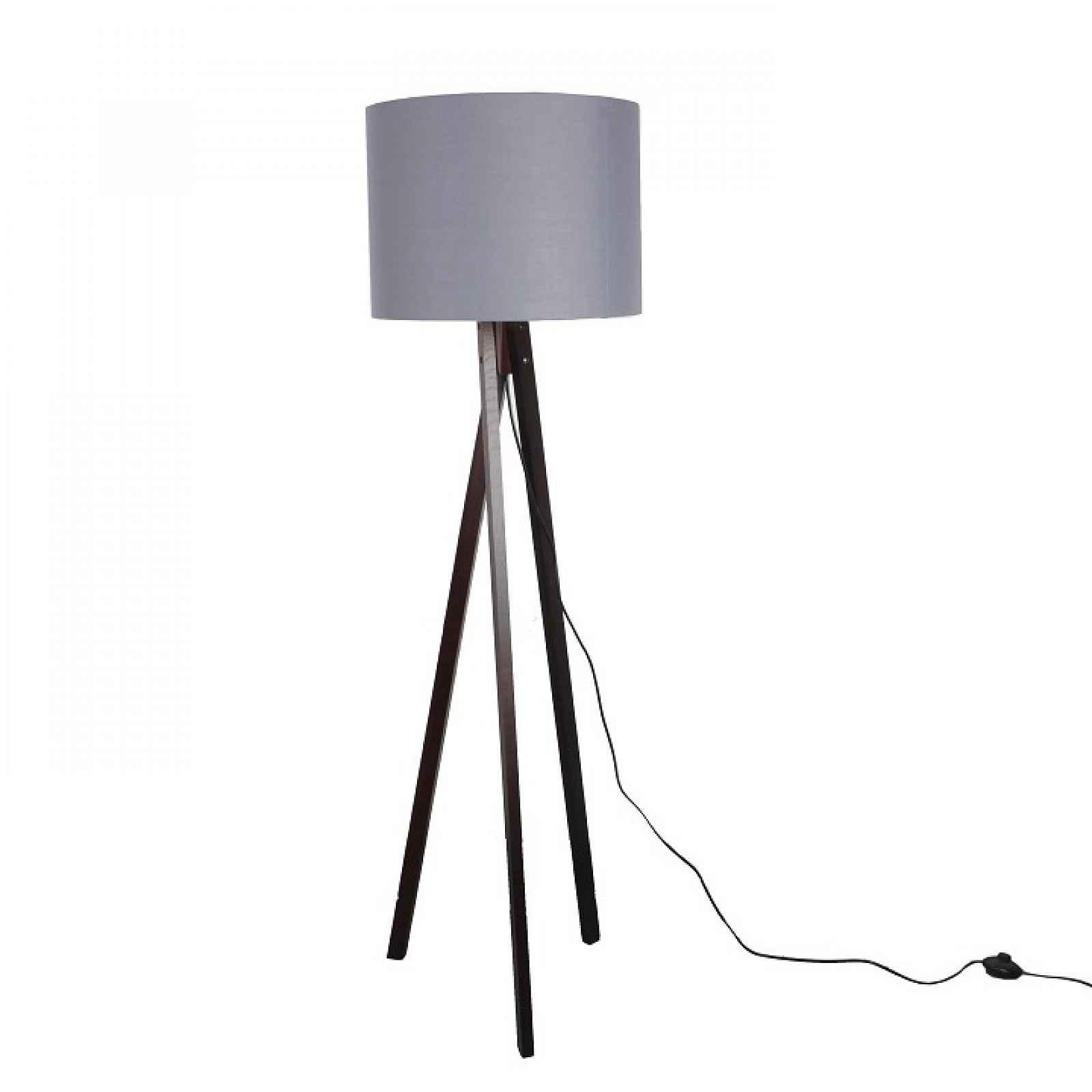 Stojací lampa, šedá / dřevo černé, LILA TYP 10 0000190677 Tempo Kondela