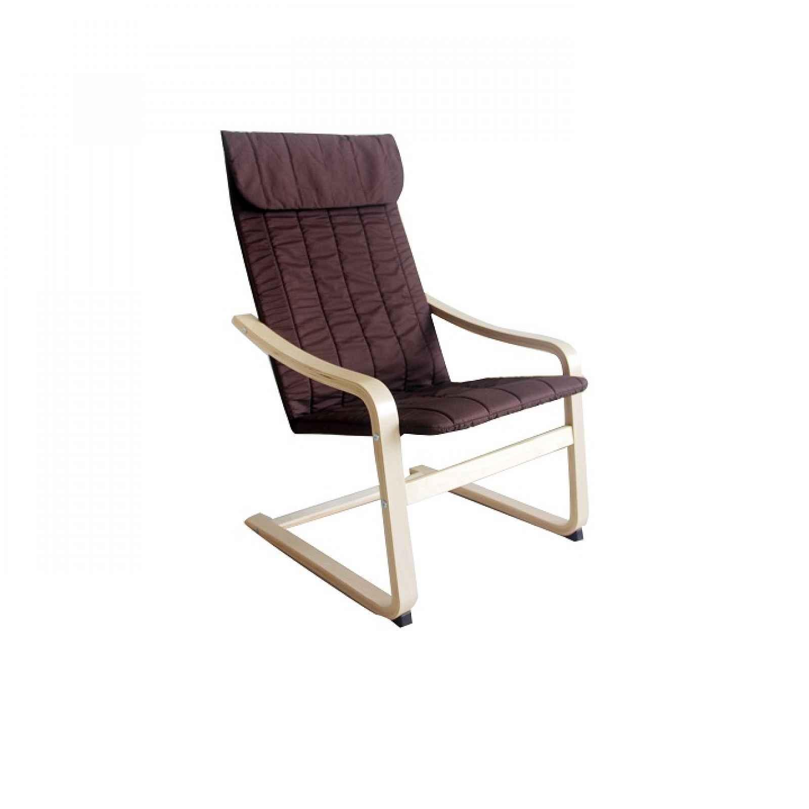 Relaxační křeslo, březové dřevo / hnědá látka, TORSTEN Tempo Kondela