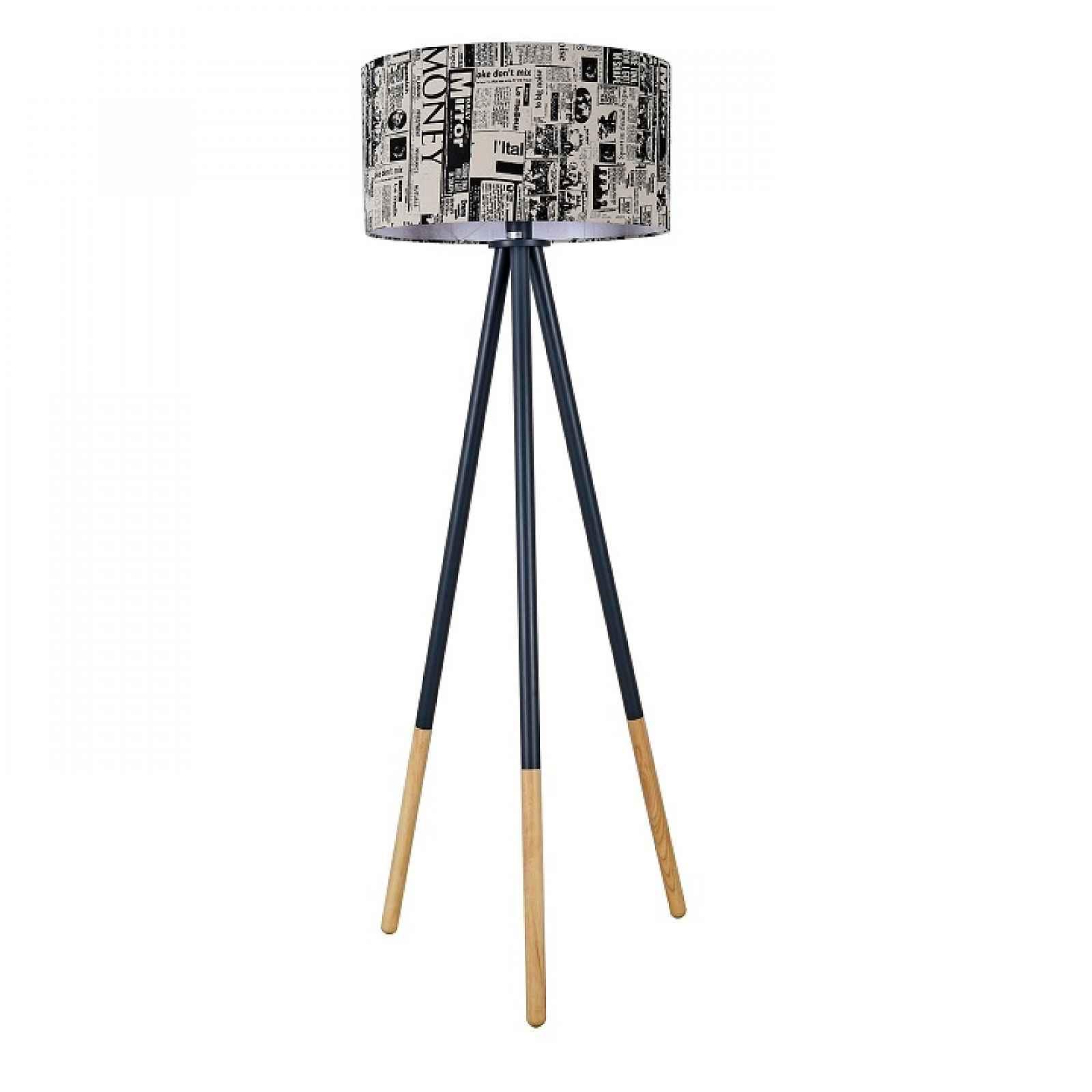 Stojací lampa, černý kov / látka, CINDA TYP 6 0000190701 Tempo Kondela