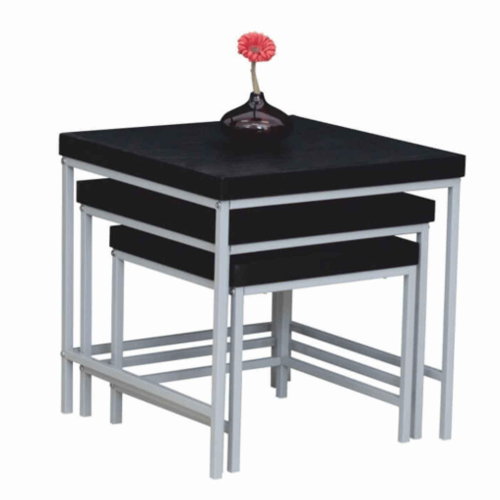 Sada 3 příručních stolků, černý dub / šedá, Alvan 0000191790 Tempo Kondela