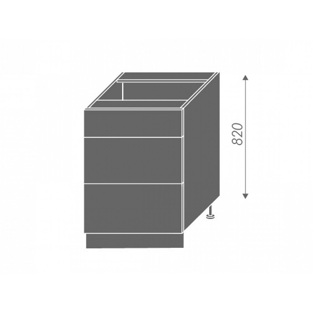 PLATINUM, skříňka dolní D3E 60, korpus: grey, barva: black
