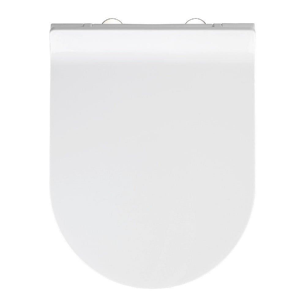 Bílé WC sedátko se snadným zavíráním Wenko Habos, 46 x 36 cm