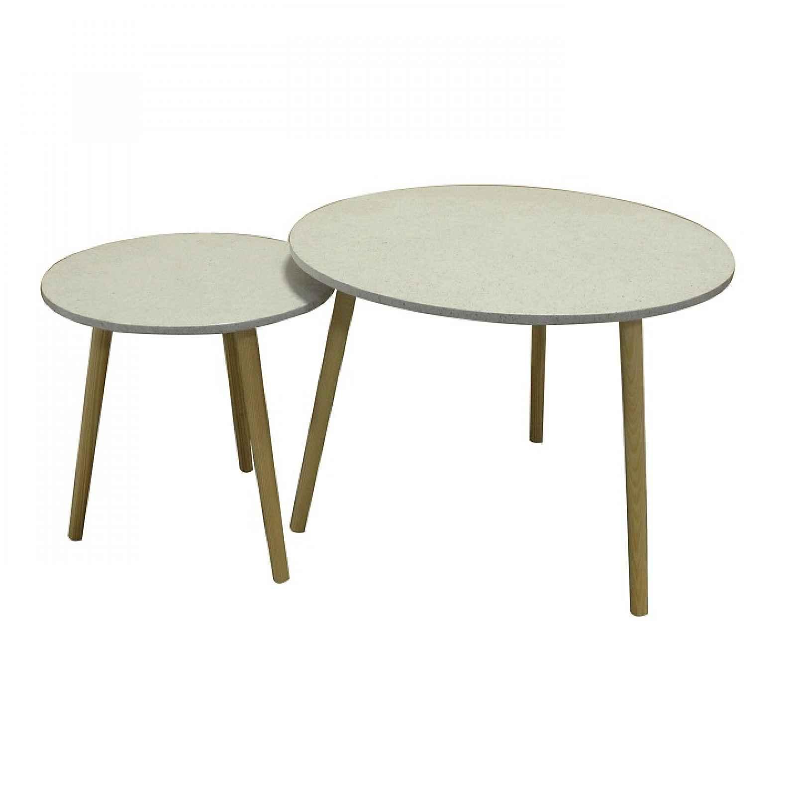 Set příručních stolíkov, mramorový efekt / dřevo natural LIRAN 2V1 0000191794 Tempo Kondela
