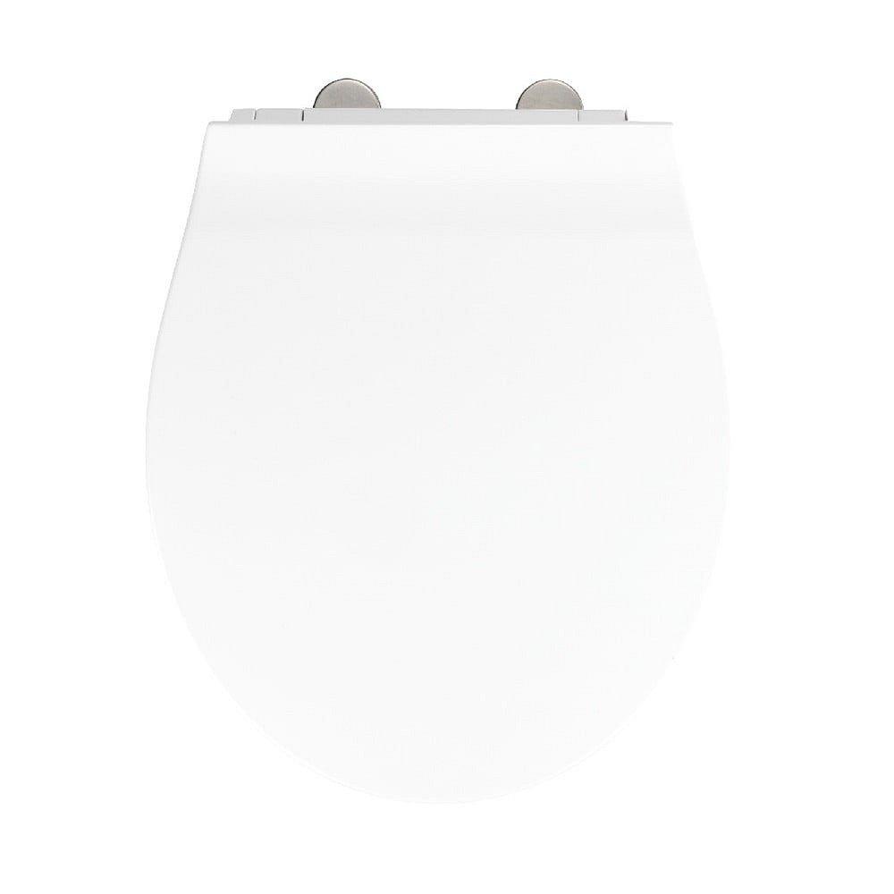 Bílé WC sedátko se snadným zavíráním Wenko Orani, 44 x 38 cm