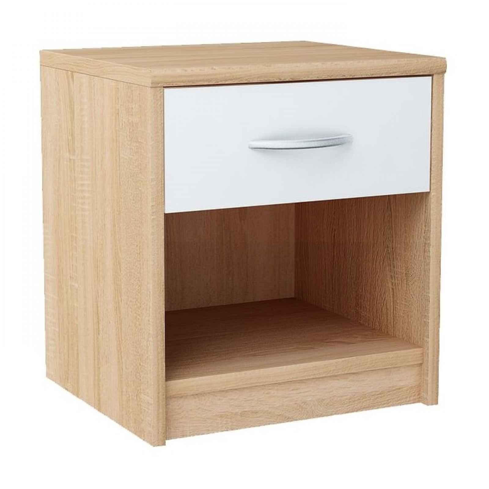 Noční stolek, dub sonoma / bílá, MARKER 0000193977 Tempo Kondela