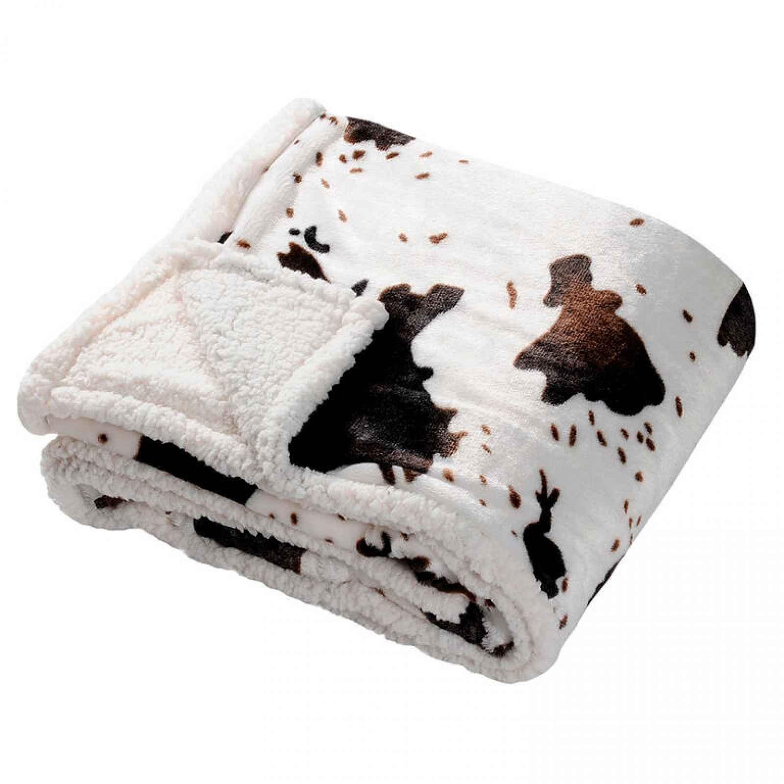 Beránková deka v dekoru kravské kůže 130 x 150 cm