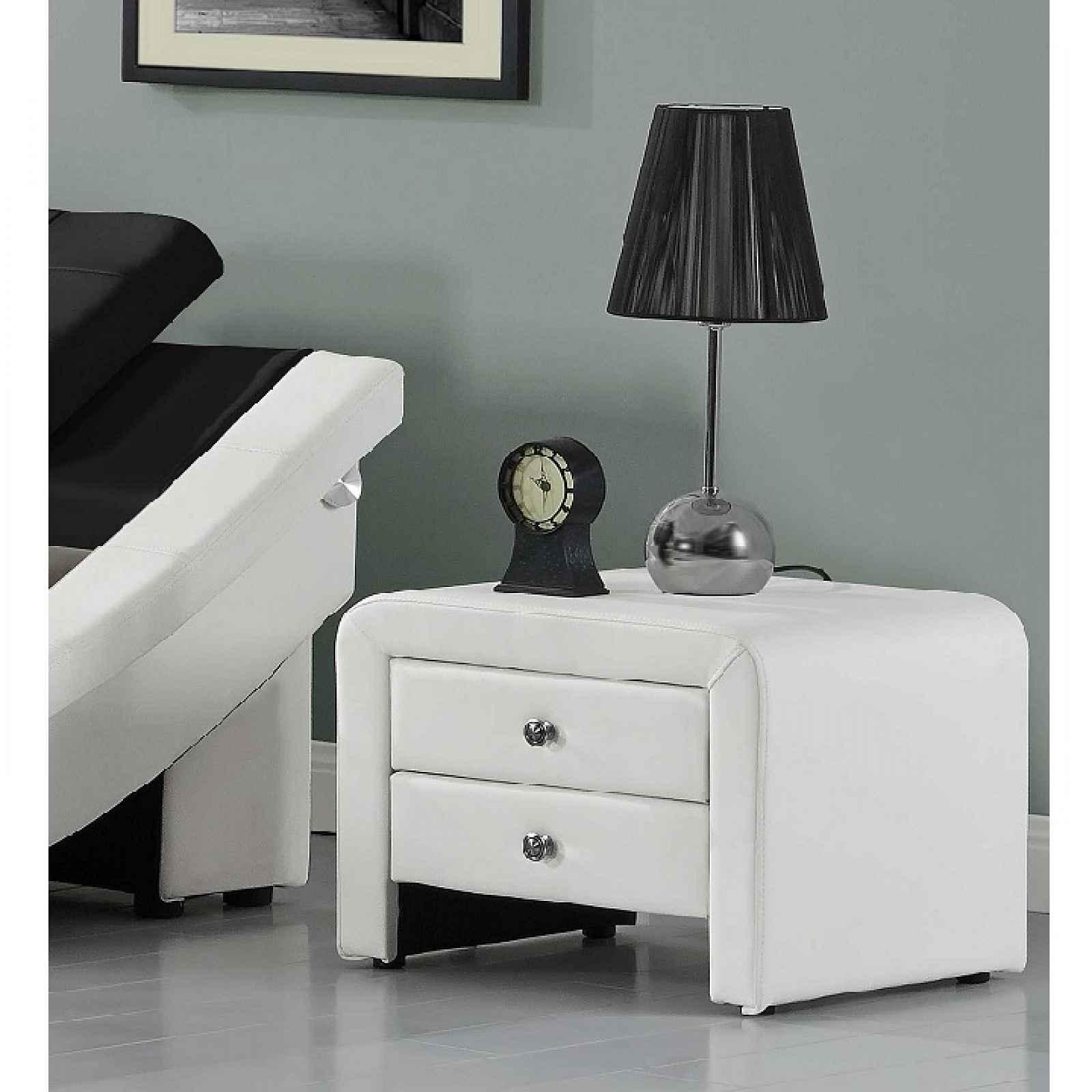 Noční stolek, ekokůže, bílá, WILSON 0000191853 Tempo Kondela