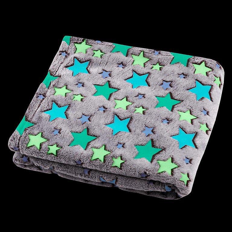 Svítící deka z mikrovlákna FILANTE-LICORNE hvězdy 130 x 160 cm