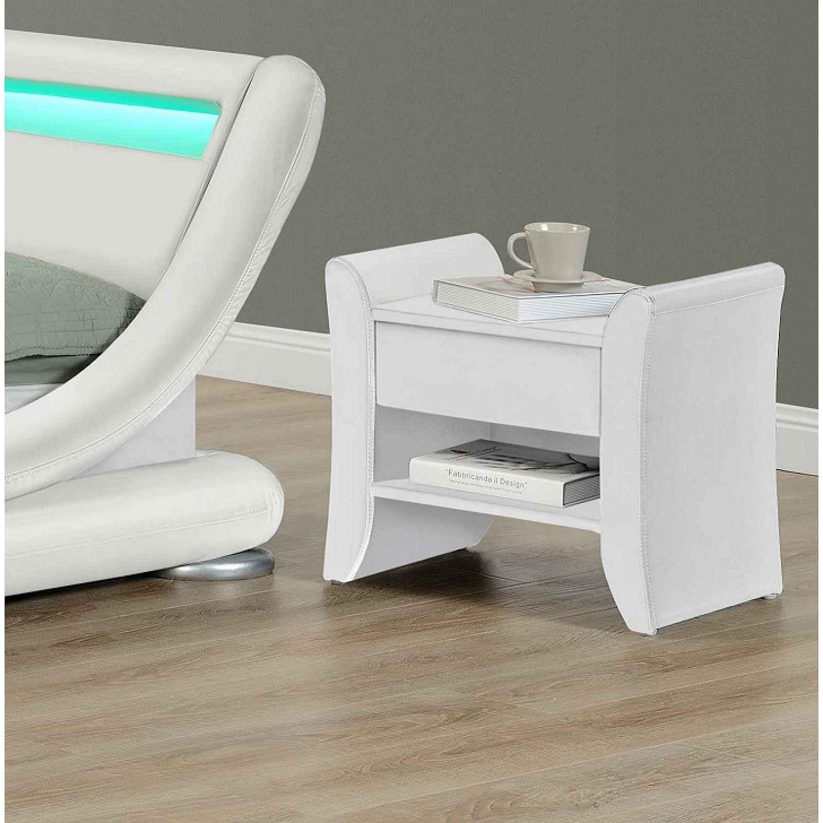 Noční stolek, bíla ekokůže, BOLTON 0000191857 Tempo Kondela