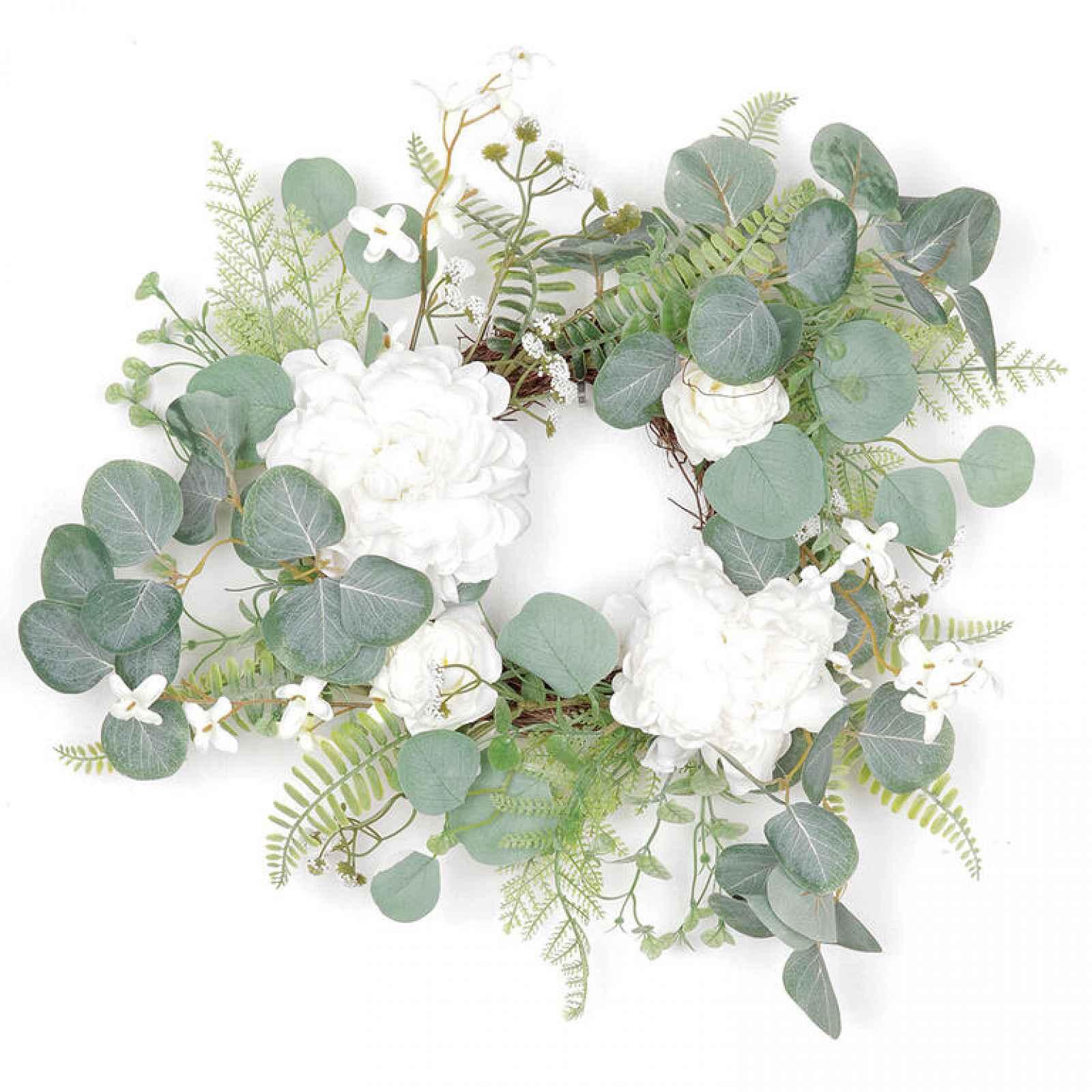 Proutěný věnec zdobený umělými květinami, bílá/zelená