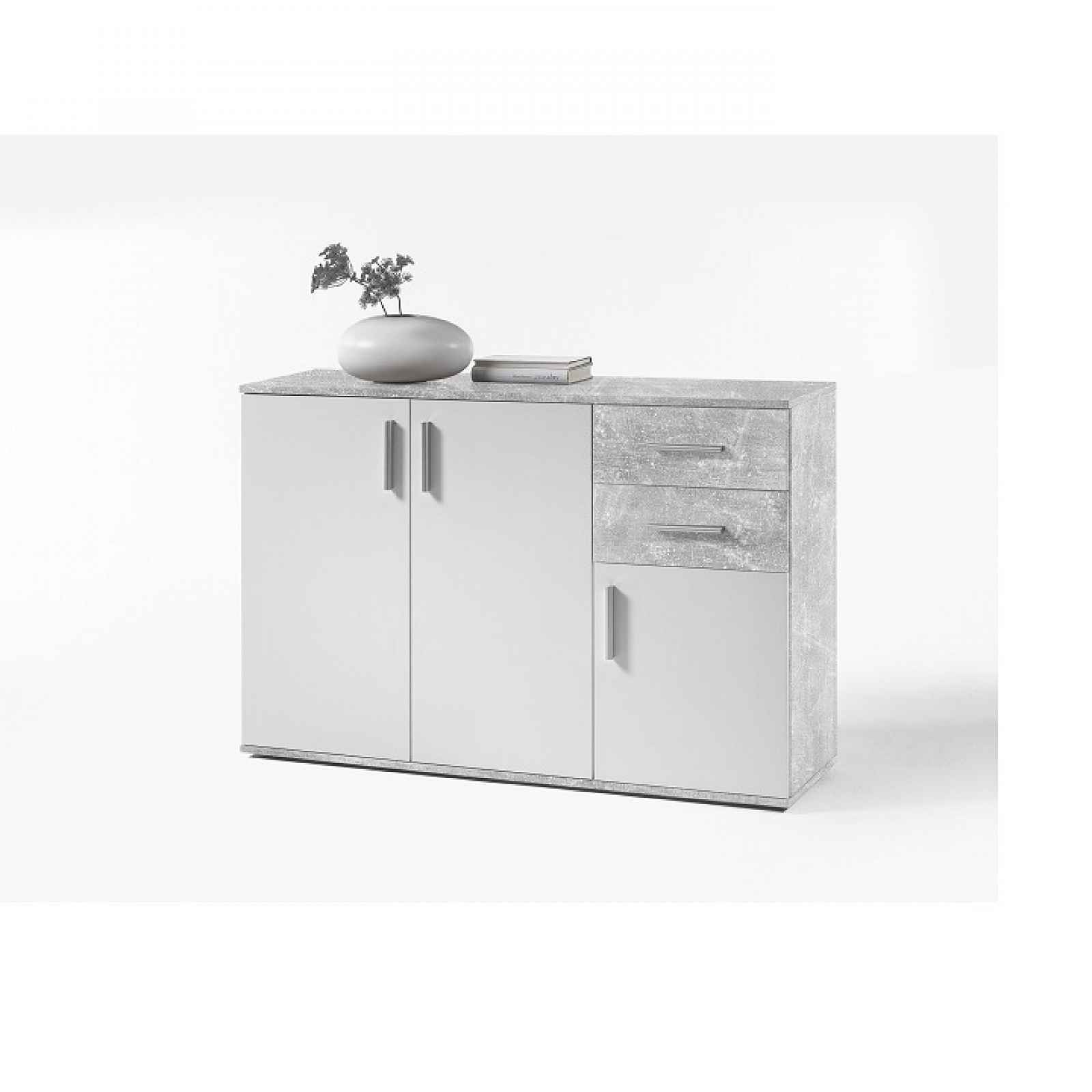 Komoda, bílá / beton, POPPY 2 0000193919 Tempo Kondela