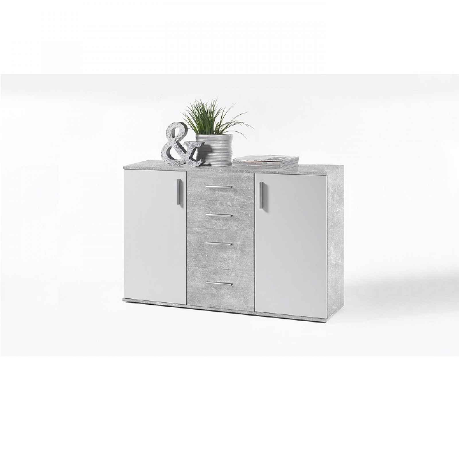 Komoda, bílá / beton, POPPY 5 0000193924 Tempo Kondela