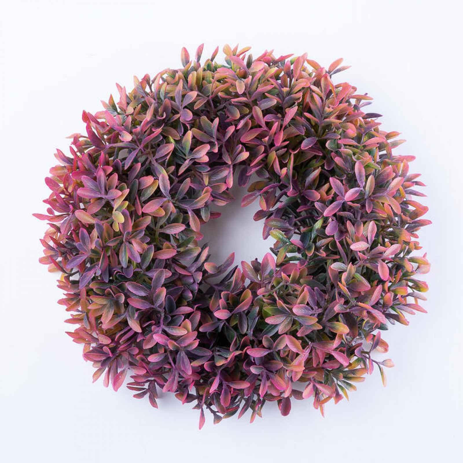 Věnec lístečky růžovooranžový 26 cm