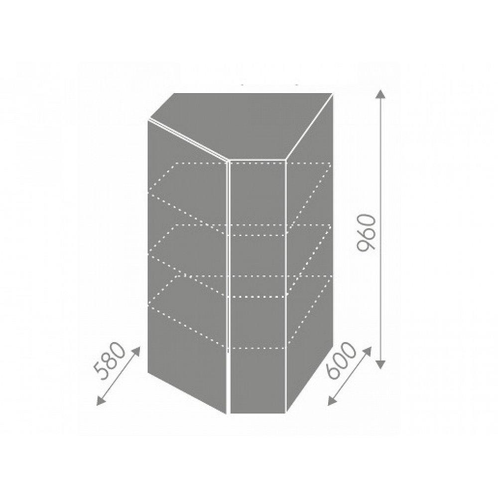 PLATINUM, skříňka horní rohová W4/10 60, korpus: grey, barva: rose red