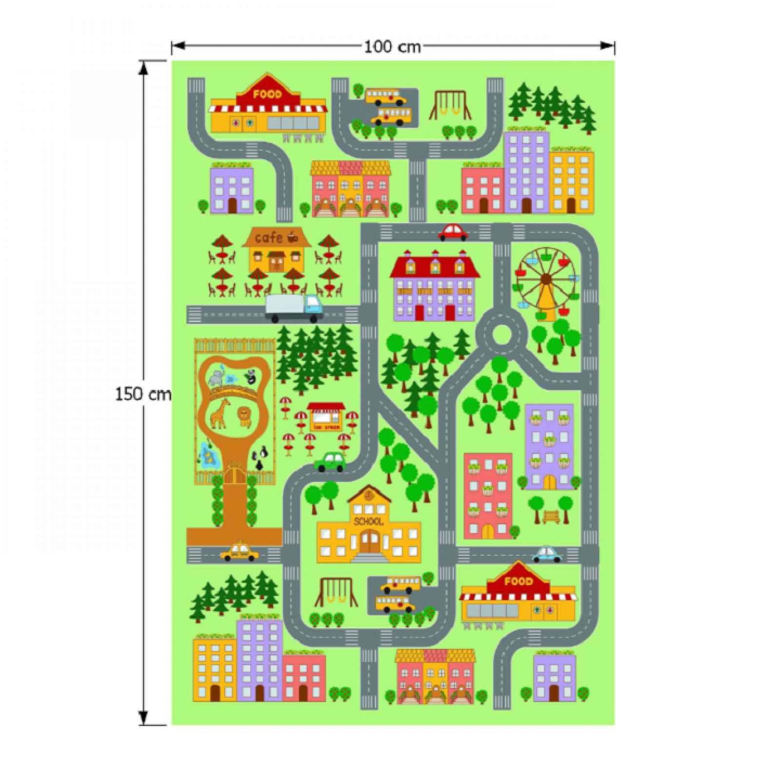 Dětský koberec EBEL vzor město Tempo Kondela 100x150 cm