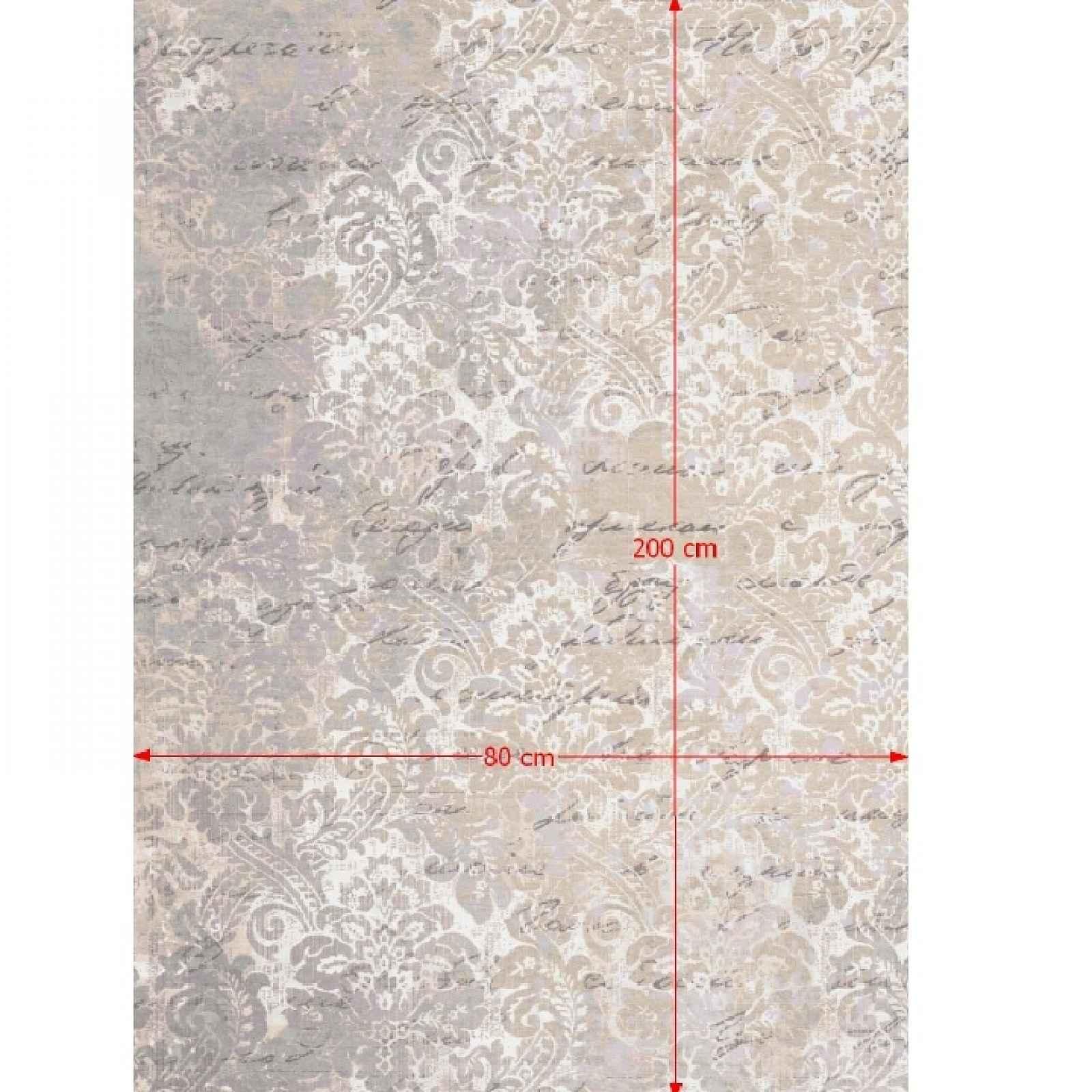 Koberec s třásněmi BALIN béžová / vzor Tempo Kondela 80x200 cm