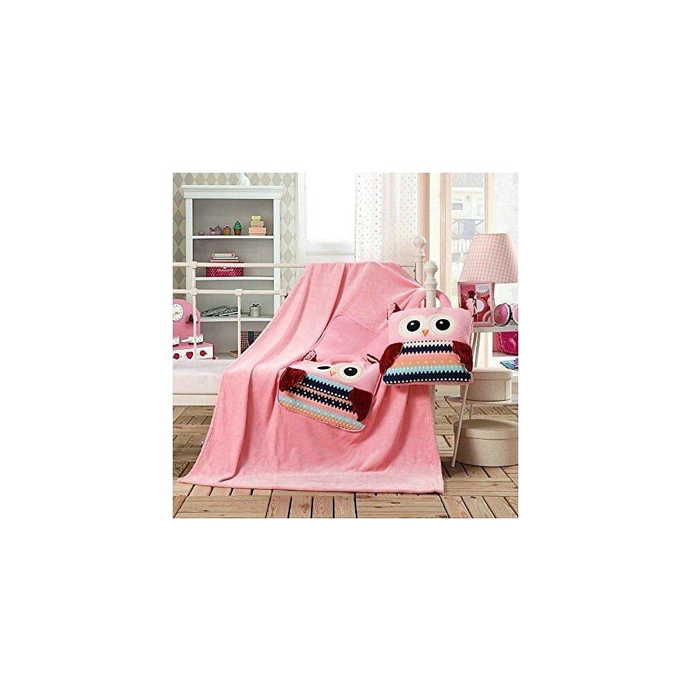 Růžová dětská deka z mikrovlákna DecoKing Cuties Owls, 110 x 160 cm