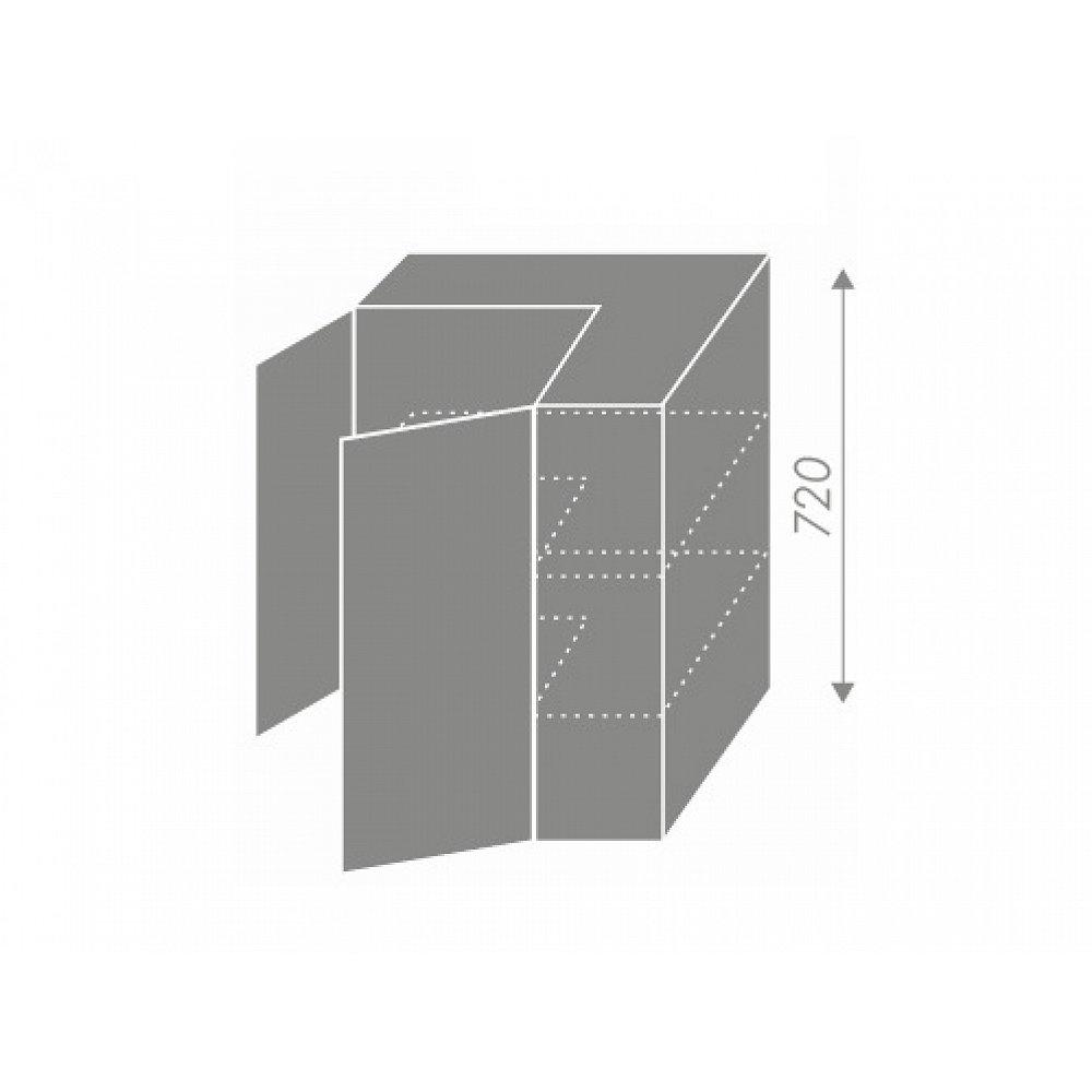 PLATINUM, skříňka horní rohová W12 60, korpus: grey, barva: vanilla