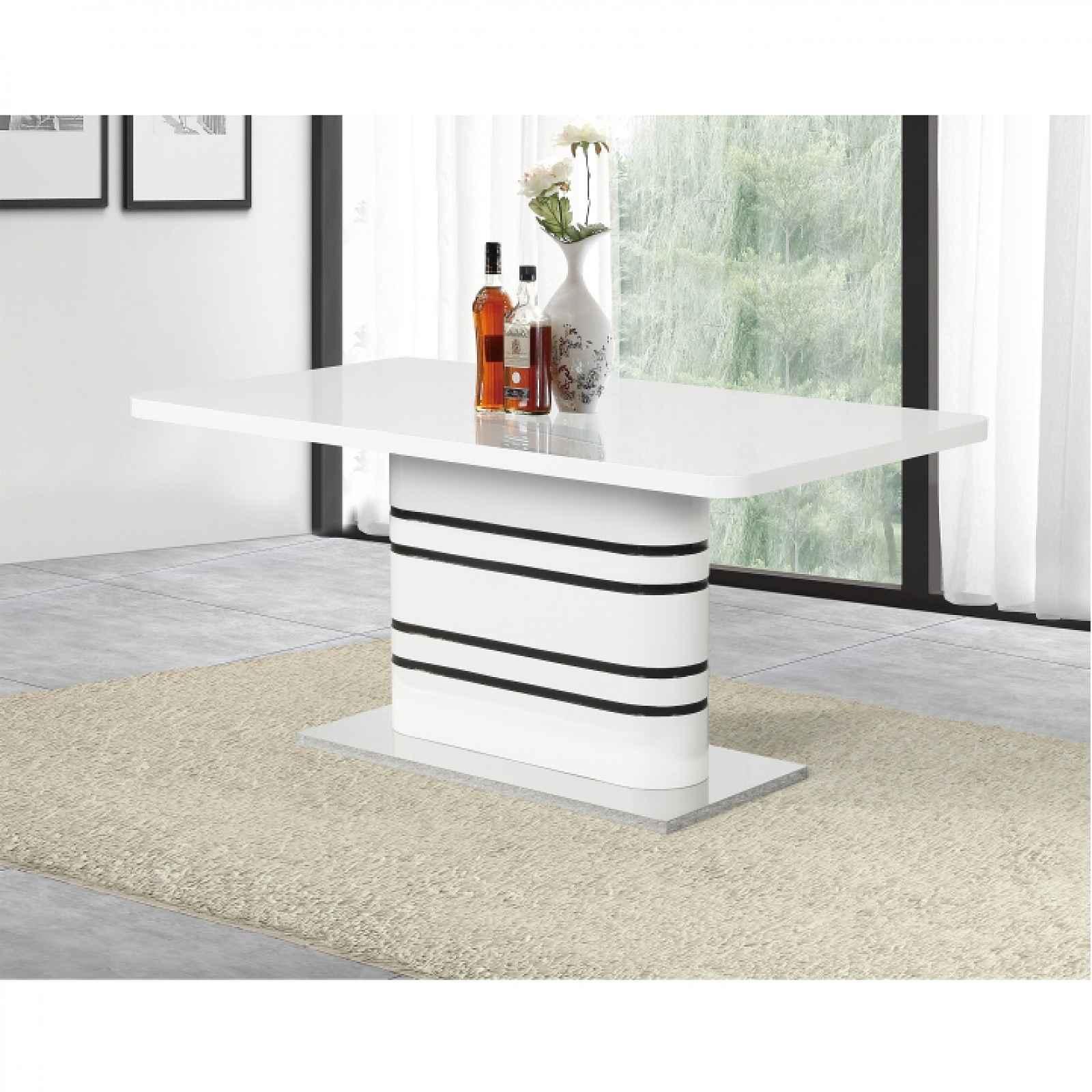 Jídelní rozkládací stůl, bílá vysoky lesk HG / černé pásky, TUBAL 0000229187 Tempo Kondela