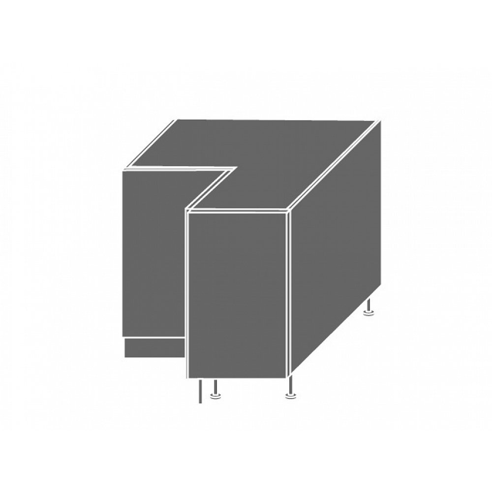 TITANIUM, skříňka dolní rohová D12 90, korpus: bílý, barva: fino černé