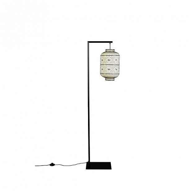 Bílo-černá stojací lampa Dutchbone Ming