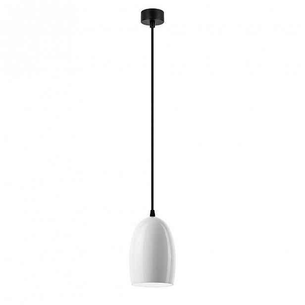 Bílé lesklé stropní svítidlo s černým kabelem Sotto Luce Ume