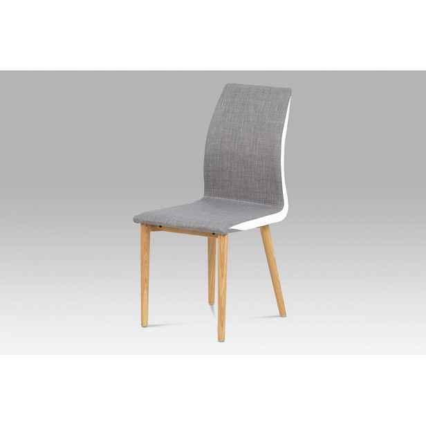 Jídelní židle WC-1513B BR2 šedá / bílá / dub Autronic