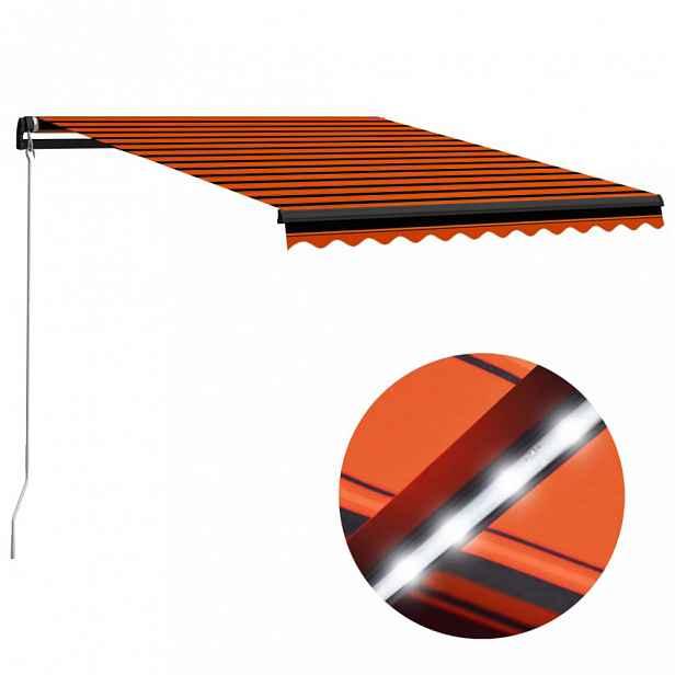 Ručně zatahovací markýza s LED světlem 300 x 250 cm Dekorhome Oranžová
