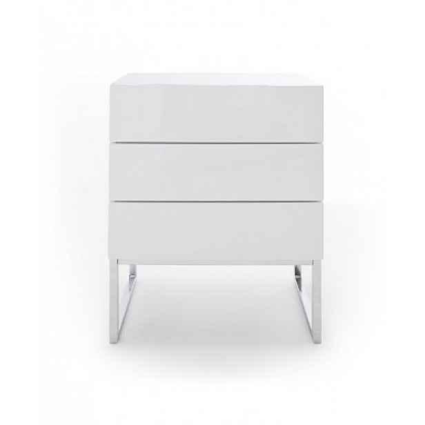 Noční stolek Heda (3 zásuvky, bílá lesk, chromovaný rám)