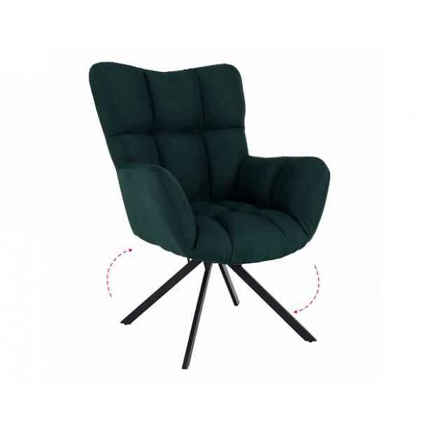 Designové otočné křeslo KOMODO, zelená/černá, látka