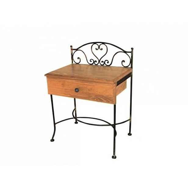 Kovaný noční stolek s masivní zásuvkou MALAGA 0409A Hnědá 1A - zlatá patina, D2 dub přírodní