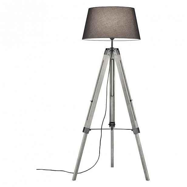 Šedá stojací lampa z přírodního dřeva a tkaniny Trio Tripod, výška 143 cm