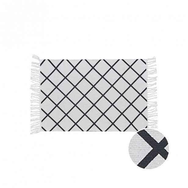 Ručně tkaný SILENT DANCER Koberec s třásněmi kárový vzor 60 x 90 cm - černá