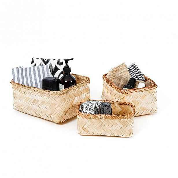 Sada 3 úložných bambusových košíků Compactor Natural Bamboo
