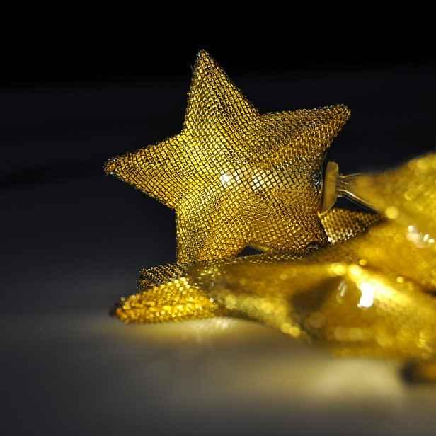 Solight Světelný LED řetěz s 10 zlatými hvězdami, 1 m, teplá bílá