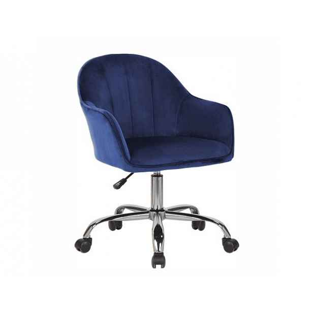 Konferenční křeslo EROL, Velvet látka modrá/chrom - 59x62x82 / 92 cm