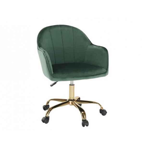 Konferenční křeslo EROL, zelená Velvet látka/zlatá - 59x62x82 / 92 cm
