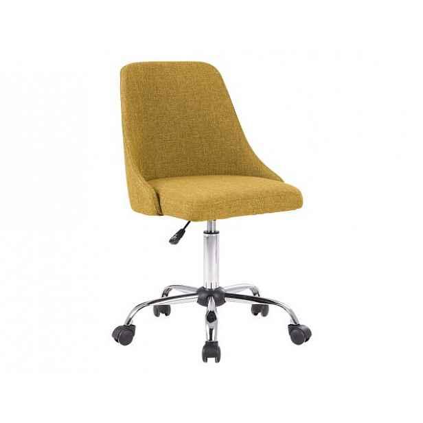 Konferenční židle EDIZ, žlutá/chrom - 48x57x78-88 cm
