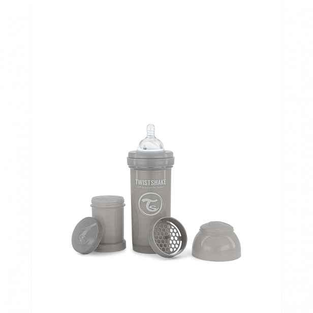 Twistshake Kojenecká láhev Anti-Colic 260 ml, šedá