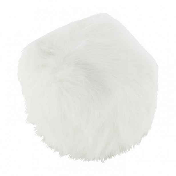 Taburet, umělá kožešina bílá, AZENE Tempo Kondela Bílá