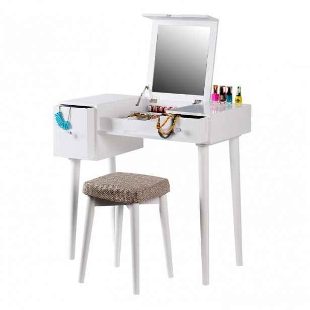 Toaletní stolek, toaletka, bílá/hnědá, MARVEL 0000228634 Tempo Kondela