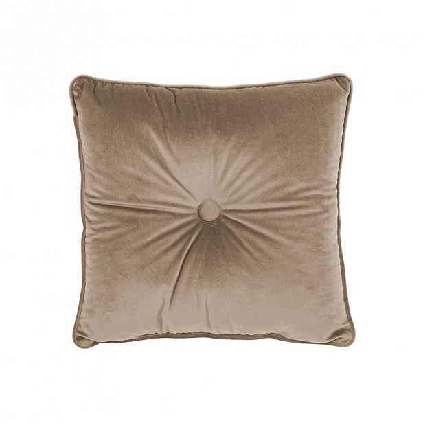 Světle hnědý polštář Tiseco Home Studio Velvet Button, 45x45cm