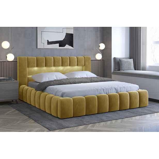 Moderní postel Lebrasco, 180x200cm, žlutá + LED