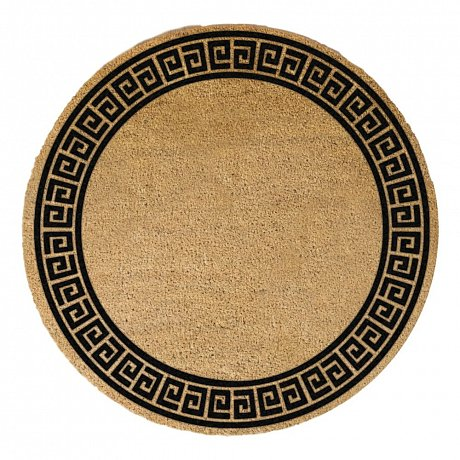 Černá kulatá rohožka z přírodního kokosového vlákna Artsy Doormats Greek Border, ⌀70cm