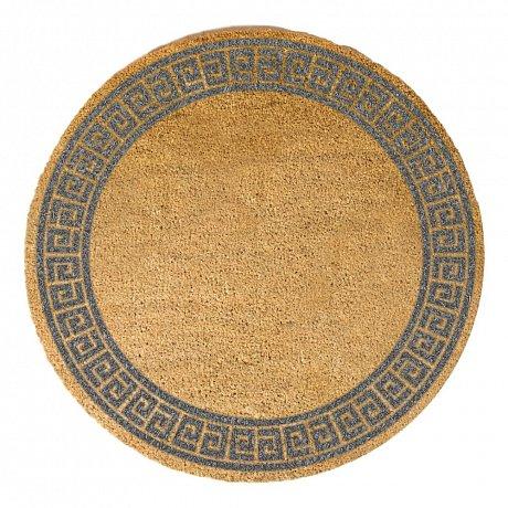 Šedá kulatá rohožka z přírodního kokosového vlákna Artsy Doormats Greek Border, ⌀70cm