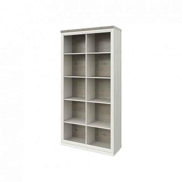 KNIHOVNA, šedá, barvy borovice, 100/209/43 cm