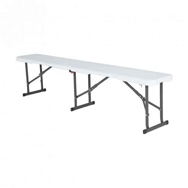 Skládací lavice 180 cm bílá / černá