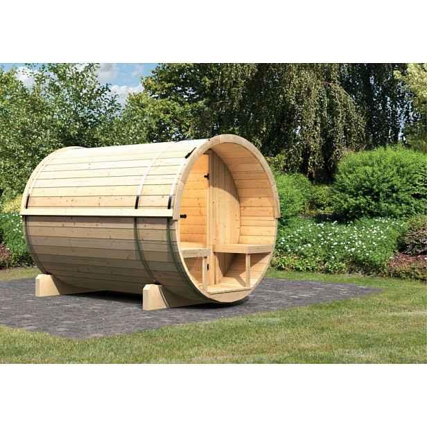 Venkovní finská sudová sauna 216 x 280 cm Dekorhome